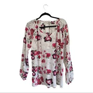 Daisy Fuentes floral long sleeve top size medium